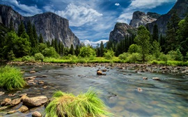 Preview wallpaper Yosemite National Park, Sierra Nevada mountains, lake, forest, trees