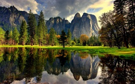 Preview wallpaper Yosemite National Park, USA, lake, water reflection, trees, grass, mountains