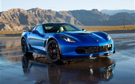 Preview wallpaper 2014 Chevrolet Corvette C7 blue supercar