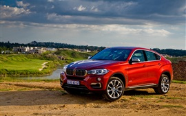 Preview wallpaper 2015 BMW X6 xDrive red SUV car