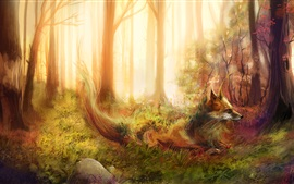 Art painting, fox, forest, trees, grass, rocks
