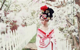 Preview wallpaper Asian girl, retro style, flowers, spring