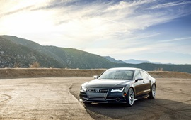 Audi S7 black car front view, clouds
