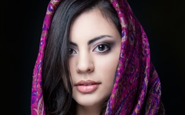 Preview wallpaper Beautiful Indian girl, brown eyes, face, scarf