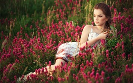 Preview wallpaper Beautiful girl, flowers field, summer