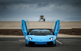 Preview wallpaper Blue Lamborghini Aventador supercar, doors opened