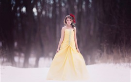 Preview wallpaper Children, girl, yellow dress, hairstyle, flowers