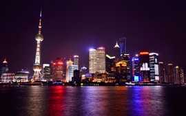 China, Shanghai, night city, metropolis, lights, skyscrapers, river