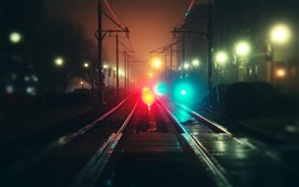 Preview wallpaper City, night, rails, fog, bokeh, colorful lights