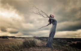 Preview wallpaper Creative pictures, girl, wind, hands, roots