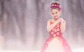 Preview wallpaper Cute children, red dress girl, snow, flowers