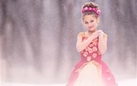 壁紙のプレビュー かわいい子供たち、赤いドレスの女の子、雪、花
