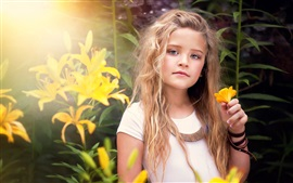 Preview wallpaper Cute little girl, portrait, yellow flowers