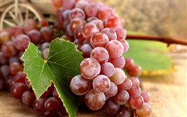 Preview wallpaper Delicious fruit, red grapes, leaf