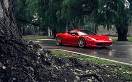 Ferrari 458 Italia supercar rouge, route