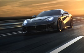 Ferrari F12 black supercar, speed, road, sunset