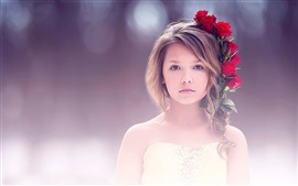 Preview wallpaper Fine art, cute girl, portrait, red rose