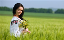 Preview wallpaper Girl in the fields, summer, flowers