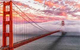 Preview wallpaper Golden Gate, San Francisco, USA, bridge, sea, heavy mist