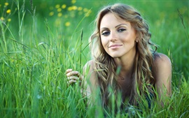 Preview wallpaper Grass, girl, summer