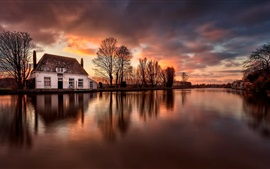 Preview wallpaper House, river, water reflection, dusk, Netherlands