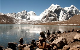Inde, Himalaya, lac, glace, roches