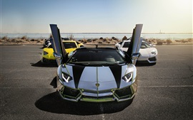 Preview wallpaper Lamborghini Aventador LP700-4 supercars, silvery, yellow, white