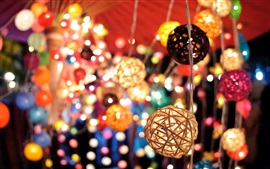Lanterns, lights, colored, bokeh