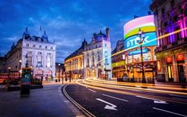 Londres, Inglaterra, ciudad, calle, edificio, luces, noche