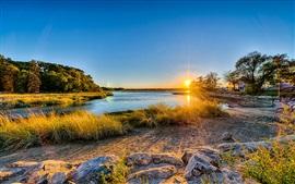 Aperçu fond d'écran Long Island, New York, USA, coucher de soleil, rivière, les arbres, l'herbe, maison