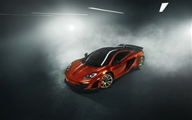 McLaren MP4-12C orange supercar, fog