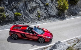 Preview wallpaper McLaren MP4-12C red supercar top view