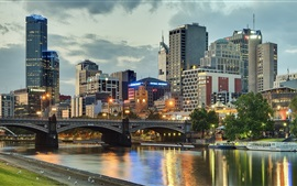 Preview wallpaper Melbourne, Australia, city, river, bridge, buildings, lights