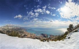 Monaco, winter, snow, sea, city, houses