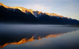 Preview wallpaper Mountains, lake, morning, fog, water reflection