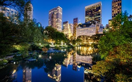 Preview wallpaper New York City, Manhattan, Central Park, USA, lake, buildings, night city