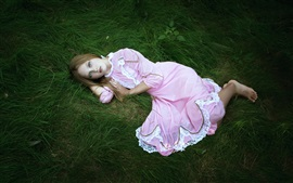 Preview wallpaper Pink dress girl, sleep, sadness, loneliness
