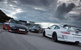 Vorschau des Hintergrundbilder Porsche 911 GT3 Supersportwagen, Weiß, Schwarz, Abenddämmerung