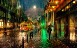 Prague, Czech, night, rain, lights