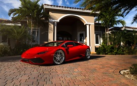 Preview wallpaper Red Lamborghini Huracan supercar, Miami, Florida