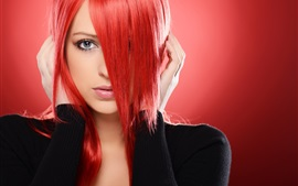 Preview wallpaper Red hair girl, eyes, face, hands, fashion