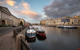Preview wallpaper Saint-Petersburg, Fontanka River, Russia, boats, houses