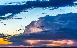 Sky, clouds, glow, sunset, thunder, lightning Wallpapers Pictures Photos Images