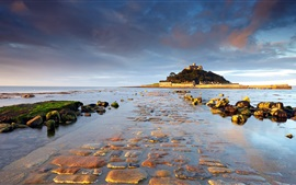 St Michael's Mount, Cornwall, England, sunrise, water