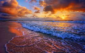 Preview wallpaper Sunset, sea, coast, surf, waves, clouds
