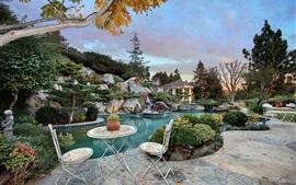 EUA, Califórnia, piscina, arbustos, parque, cadeira, noite