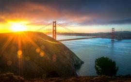США, город, мост Золотые Ворота, утреннее солнце