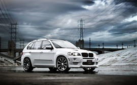 Preview wallpaper White BMW X5 SUV car, clouds