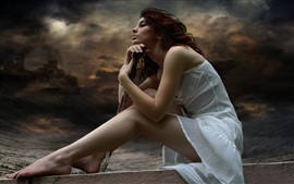 Preview wallpaper White dress girl, sitting, posture, dusk