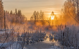 Winter, sunset, evening, river, frost, snow